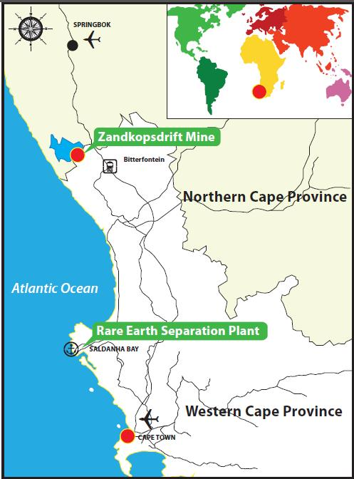 Map of South Africa and location of Zandkopsdrift Rare Earth Project